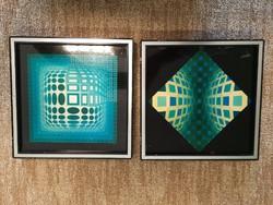 Eredeti Vasarely Serigraphie nyomat 2 db egyben