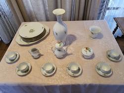 Herendi hecsedli mintás porcelán kávés mokkás készlet váza étkészlet