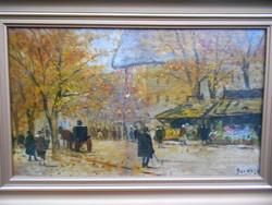 Berkes Antal (1874-1938) Őszi utcarészlet, olaj-vászon alkotása, hibátlan keretben, gyűjtői darab