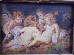 Burchard Bélaváry István (1864-1933) Angyali kacaj, olaj-karton alkotása,érdekes, figurális keretben