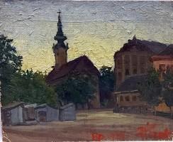 BUDAPEST TEMPLOM LÁTKÉP 1929 DATÁLT MINIATŰR OLAJ FESTMÉNY