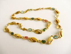 Turmalin-Topáz Citrin  kövekkel aranyozott  ezüst collier