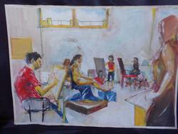 """Fehérváry Tamás, kortárs alkotó festménye.. """"Műteremben"""" Képzőművészeti Egyetem pecsétjével"""