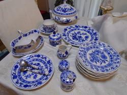 Szépséges antik hagymamintás Bavaria Germany porcelán tálaló 8 db kiegészítővel