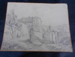 Kvalitásos ceruza rajz, számomra ismeretlen szignóval ellátva. 1858-ból. Aranyszegélyes papíron.