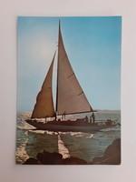 Retro képeslap 1976 Balaton vitorlás hajó