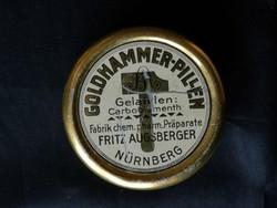 Antik Goldhammer Pillen gyógyszeres fémdoboz