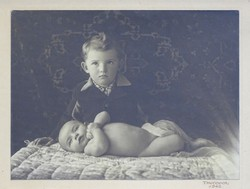 0H091 Régi jelzett FANKOVICH csecsemő fotográfia