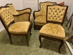 Megkímélt állapotú Neobarokk ulogarnitura, Baroque furniture (2 fotel és 2 szék)