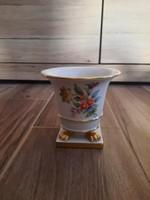 Herendi virágmintás porcelán körmös kaspó, váza