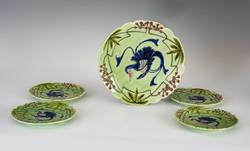 Kerámiá majolika tányér, fali tányér készlet 5 db . Kézzelfestett. Páva madár dísz.
