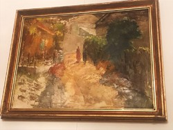 Festmény - Rozs János, Kecskeméti utca , Olaj, vászon , 50×70 cm, jjl