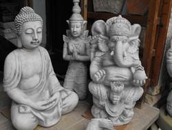Hatalmas  Ganésa Buddha  Indiai Thai Keleti Feng Shui kertépítő Kő szobor