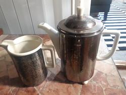 Német birodalmi jelzésű WMF Art deco/Bauhaus hőtartó teás/kávés kanna es kiöntő  (1930)
