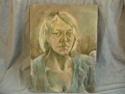 Kortárs festmény olaj vászon női portré Sáfár Pál Gábor 1974 kondor műterem