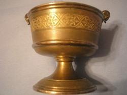 U5 Tűz  aranyozott antik kaviár,lekvár, méz , szarvasgomba tartó ízléses ritkaság 7 x 7 cm-es
