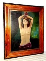 Antik Női akt olajfestmény