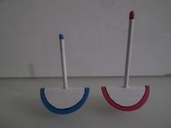 Játék - Fa - 2 db - sütiszelet gyertyával - 7,5 x 4 x 2,5 cm - 6,5 x 4 x 2,5 cm - hibátlan