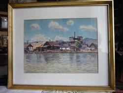 Tájkép Jókuthy Miklós akvarell festménye
