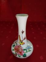 Keleti porcelán, mini váza, madár mintával. Magassága 11 cm.