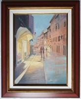 """Zoltai Attila """"Esti séta Rovinjban"""" c. olajfestmény ingyen postával"""