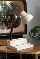 Retro Szarvasi lámpa - íróasztali lámpa és rekeszes tároló egyben - bakelit/műanyag, gégecsöves lámp