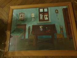 Vecsési Sándor (Munkácsy-díjas) Emlék egy szobáról eredeti festménye