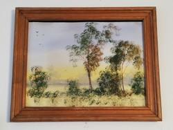 Pozsgay: folyópart fákkal akvarell