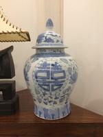Kínai kobalt kék, máz alatti festéső kínai kerámi váza, Páros boldogság jel, keleti, ázsiai