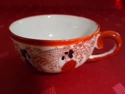 Japán porcelán, barna szegélyes kávéscsésze, átmérője 6 cm.