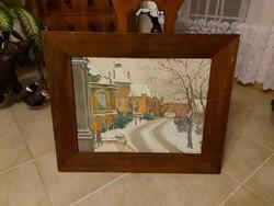 Antik gyönyörű festmény Budai utca télen!