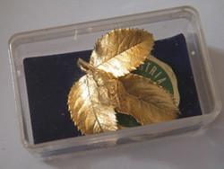 24 karátos arannyal bevont valódi rózsa kitűző, bross