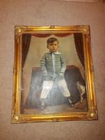 Kifestett, öreg fotó, 40x50-es fészkű, laparanyozott, üvegezett, makulátlan blondel keretben