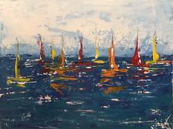 Várakozó regatta- vitorlások, festmény, eredeti, a művésztől