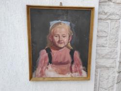 Kislány portré, festmény,jól megfestett ,Bosznay jelzés,vidàm hangulatosb