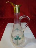 Német antik üveg kiöntő, réz fejjel, három levelű lóherével.