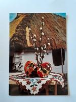 Retro húsvéti képeslap falusi házikós levelezőlap