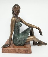 """Czobor Sándor """"Támaszkodó lány"""" c. bronz, eredetiségigazolás, ingyen posta"""