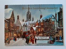 Retro karácsonyi képeslap ünnepi életkép