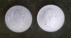 2 darab Románia ezüst 100000 lei 1946 I. Mihai Ag.700 25g