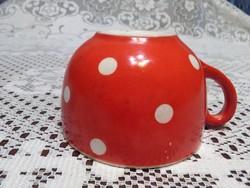 Hollóházi Szakmáry piros fehér pöttyös csésze, bögre