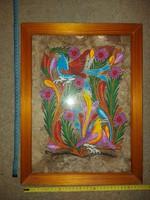 """Különleges, """"házi"""" papírra festett madármotívum, üvegezett keretben, méret jelezve!"""