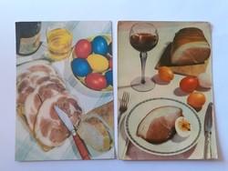 Retro húsvéti képeslap 1966 levelezőlap 2 db