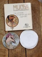 Régi HUTSCHENREUTHER Mucha Jugedtstil porcelán kézi tükör bőr tokkal dobozában