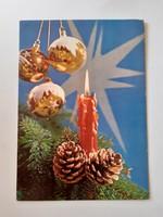 Retro karácsonyfadíszes képeslap 1972