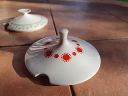 Alföldi porcelán retro levesestál fedő Piros - centrum varia (napocska mintás)