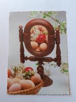 Retro húsvéti képeslap népi tükrös levelezőlap