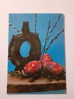 Retro húsvéti képeslap 1985 kerámiás levelezőlap
