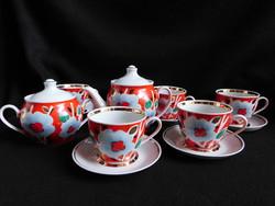 Szovjet/orosz kézzel festett teáskészlet - 5 személyes