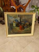Antik Dezső József képcsarnokos kubista ragyogó festménye!
